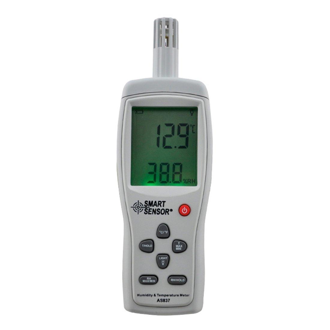 Smartsensor AS837 Hygrometer Digital Temperature and Humidity Meter, Temperature and Humidity(-10~50C 5%~98%RH) for Home and Industrial
