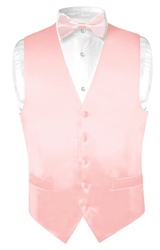 7ff24c8ff592 Biagio Men's Silk Dress Vest & Bow Tie Solid Light Pink Color Bowtie Set at  Amazon Men's Clothing store: Business Suit Vests
