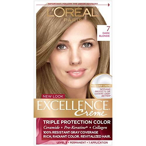 L'Oréal Paris Excellence Créme Permanent Hair Color, 7 Dark Blonde, 1 kit 100% Gray Coverage Hair Dye