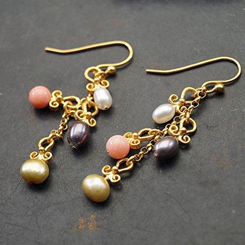 Sterling Silver Pearl & Coral Multi color Charm Earrings 24k Gold Vermeil Handcrafted Turkish Designer Jewelry Women Dangle Earrings