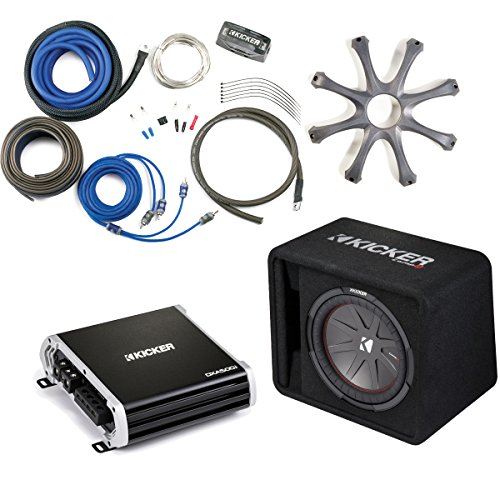 Kicker 43VCWR122 Comp R ported enclosure w/ 500 Watt Kicker DXA5001 Amplifier, wiring kit, grille, and bass knob.