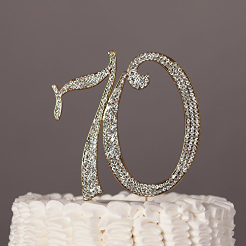 70 Cake Topper For 70th Birthday Or Anniversary Party Gold Crystal Rhinestone Decoration