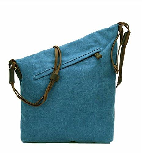 Blue Voorhuid Retro The Khaki Schoudertas Mkulxina Canvas Sky Strap kleur Cube waIX1v