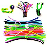 500pcs Pipe Cleaners Set(100pcs chenille stems,250pcs Pom poms,150pcs Wiggle googly eyes) Assorted Colors DIY Craft Decoration Party Favor Supplies As Educational Toy for Kids Handmade DIY Craft