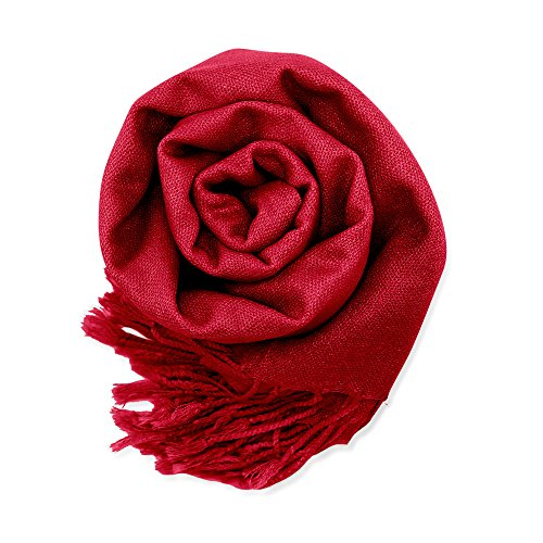 GEARONIC TM Fashion Lady Women's Long Range Pashmina Silk Solid colors Scarf Wraps Shawl Stole Soft Scarves - Wine Red
