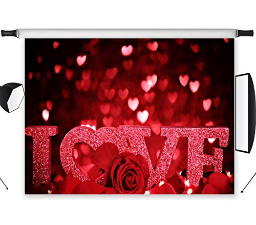 LB 7x5ft Mothers Day Valentines Day Vinyl Photography Backdrop Red Rose Love Romantic Customized Photo Background Studio Props VD279 -