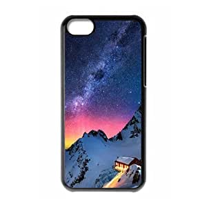 Dustin Starry Sky IPhone 5C Case Snow Mountain Chalet Aurora Milky Way Stars Design for Men, Iphone 5c Cases for Guys, {Black}