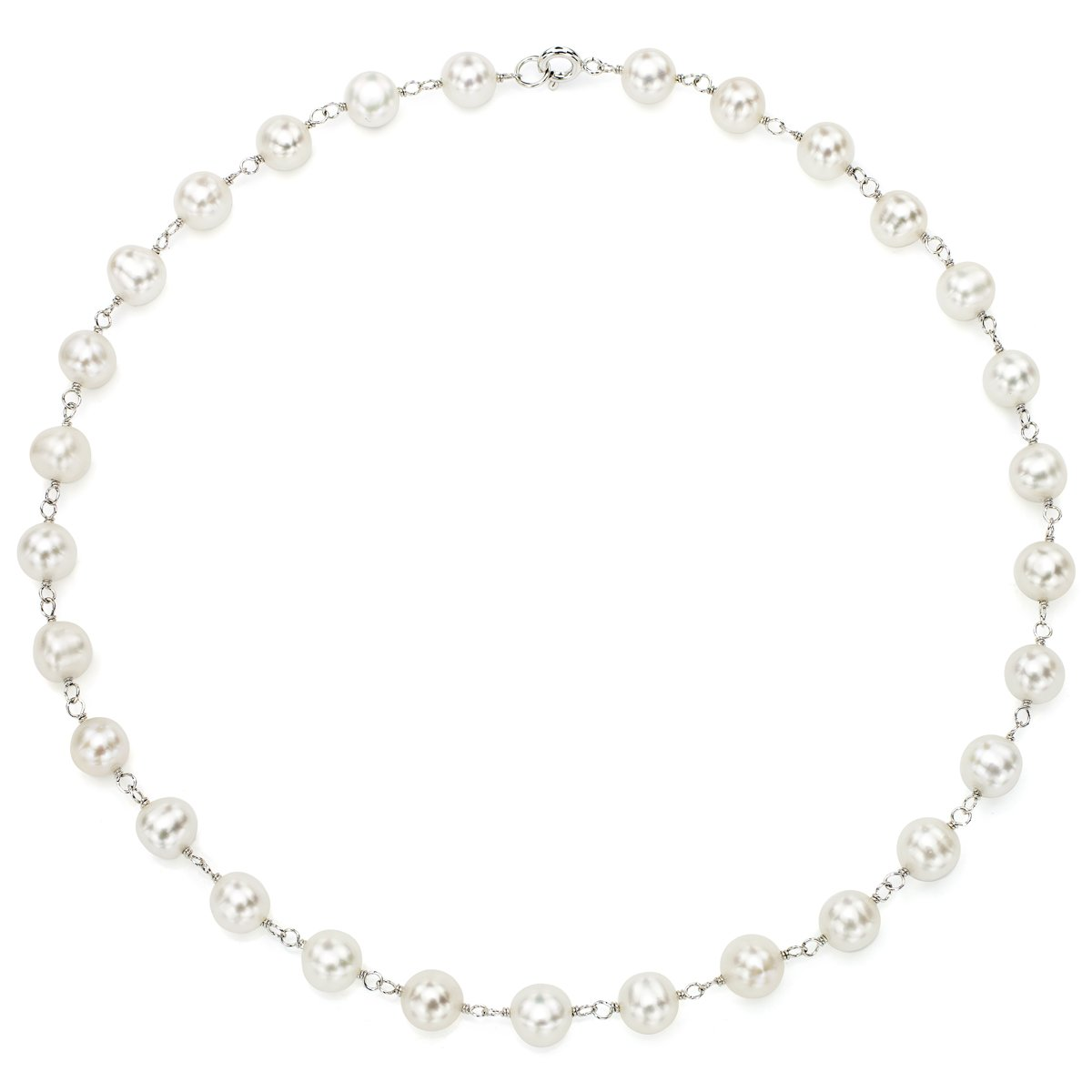 La Regis Jewelry Sterling Silver 8-8.5mm White Freshwater Cultured Pearl Link Choker Necklace, 16''