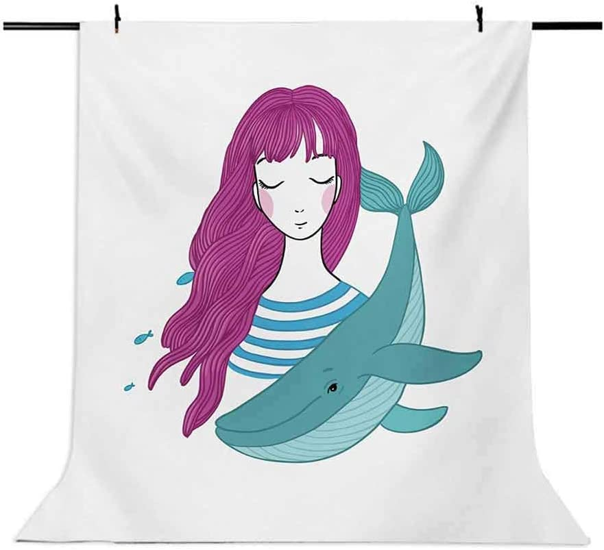 Girls 6.5x10 FT Photography Backdrop Illustration of a Teenage Girl with Closed Eyes and a Funny Whale Background for Kid Baby Boy Girl Artistic Portrait Photo Shoot Studio Props Video Drape Vinyl