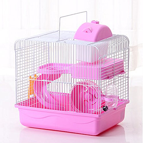 Petzilla Hamster Travel Cage, Portable Carrier for Small Animals (Pink)