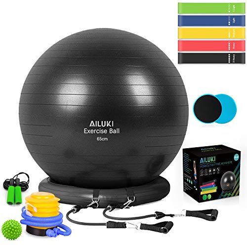 AILUKI Yoga Ball, Exercise Ball Fitness Balls Stability Ball Anti-Slip & Anti- Burst for Yoga,Pilates, Birthing, Balance & Fitness with Workout Guide & Quick Pump (So Alpha Exercise Ball With Resistance Bands)