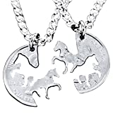4EAELove Silver Plated Hand Cut Horse Interlocking Necklace Relationship BFF Set