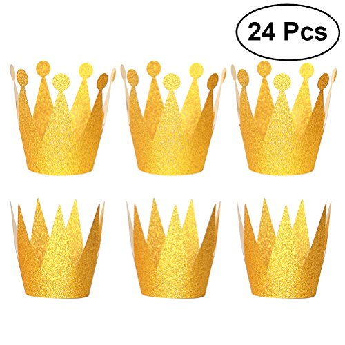 NUOLUX 24PCS Glitter Birthday Crown Hats Party Hats Princess Prince Crowns Hats for Kids and Adults Party Decorations ()