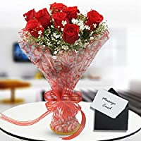 Floraindia 10 Red Rose Bunch with Cellophane Packing. (Fresh Flowers Bunch of 10)