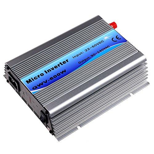 Y&H Grid Tie Inverter 600W Stackable DC22-60V Input AC110V MPPT Pure Sine Wave Micro Inverter fit for 30V 36V Solar Panel/36V Battery by Y&H