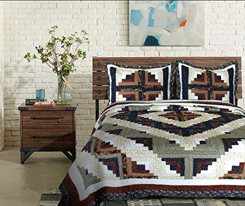 """Elegant Decor Colorado Log Cabin Cotton Patchwork Quilt Collection (King Quilt 106"""" W x 96"""" L)"""