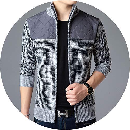 Sweater Men Cardigan 2019 Autumn Winter New Wool Patchwork Thinker Warm Casual Knit Jacket,LightGray,M
