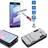 Galaxy Note 5 Case, Metallic Shine Hybrid Protective Case with Tempered Glass Screen Protector, Drop Protection Shell w/ Kickstand by BOONIX (Titanium Silver)