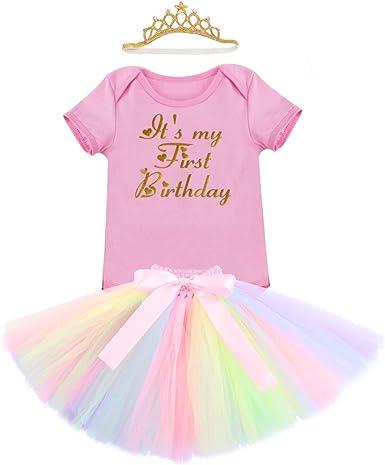 FYMNSI Infantil Bebé Niña Primer 1er Cumpleaños Traje Unicornio ...
