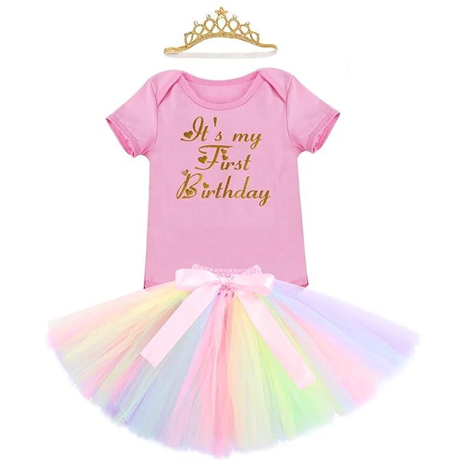 FYMNSI Infantil Bebé Niña Primer 1er Cumpleaños Traje Unicornio Mameluco Romper Falda de Princesa Tutú Diadema Corona 3 Piezas Conjunto de Ropa 1 Años ...