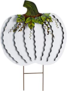 E-view Metal Pumpkin Garden Stakes - Autumn Decorative Yard Signs - Indoor Outdoor Plant Flower Stake Fall Lawn Ornaments Pumpkin Decoration for Harvest Halloween (Pumpkin-D)