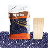 Youke Body Hair Removal 300g*1 Pack Hard Wax Beans Solid Depilatory Wax Natural Hot Film Lavender with 12 pcs Wax Applicator Sticks