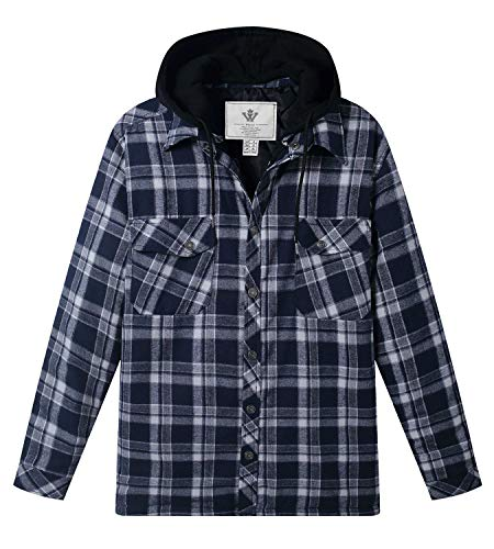 (WenVen Men's Long Sleeve Plaid Fleece Shirt(Blue,M))