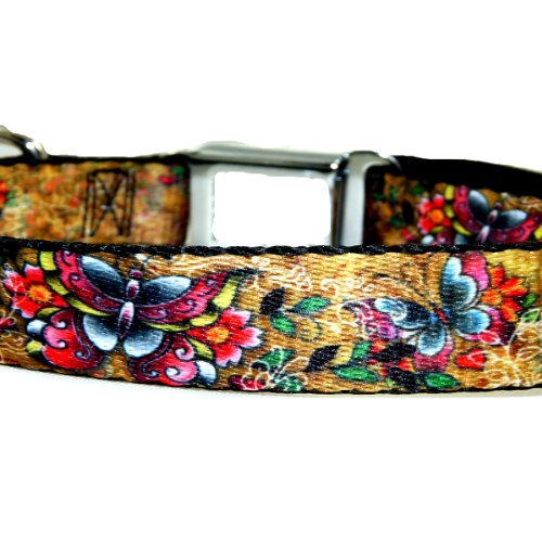 "Buckle Down TJ Butterflies Medium 11-17"" Dog Collar W32020-M"