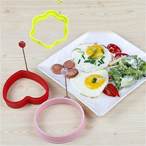 BlueDragon10 Heart Egg Mold 4Pcs Kitchen Tools Stars Heart Round Flower Shape Non-Stick Silicone Fried Egg Mold Pancake Rings Cooking Egg Tools Mould