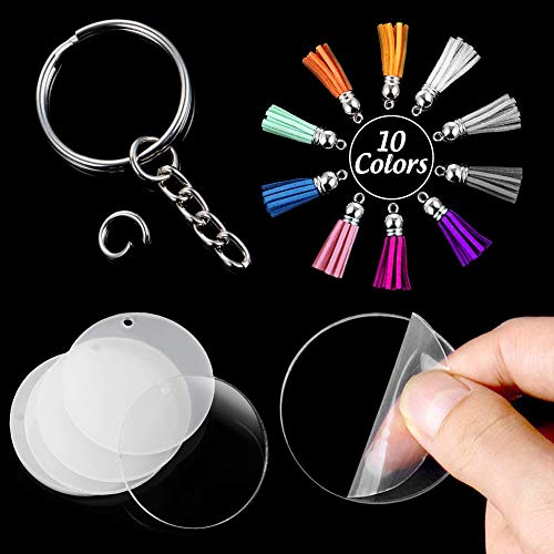 Blank Acrylic, 90PCS Transparent Discs Circle Acrylic Keychain Blanks 2 inch Clear Round Discs with Tassel Pendant Keyring for DIY Project and Craft Favor