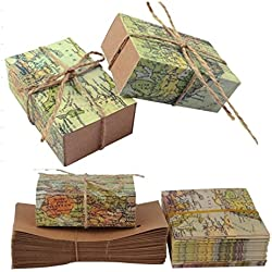 "TECH-P Creative Life 50Pcs ""Around the World"" Map Favor Boxes Travel Theme ,Wedding Party Decoration Vintage Kraft Paper Candy Box Gift Supplies for Travel Themed Shower"