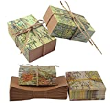 TECH-P Creative Life 50Pcs ''Around the World'' Map Favor Boxes Travel Theme ,Wedding Party Decoration Vintage Kraft Paper Candy Box Gift Supplies for Travel Themed Shower