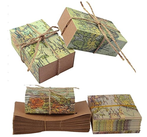 TECH-P Creative Life 50Pcs ''Around the World'' Map Favor Boxes Travel Theme ,Wedding Party Decoration Vintage Kraft Paper Candy Box Gift Supplies for Travel Themed Shower by TECH-P