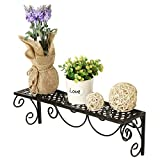 MyGift Wall Mounted Metal Floating Display Shelf with Scrollwork Design, Black