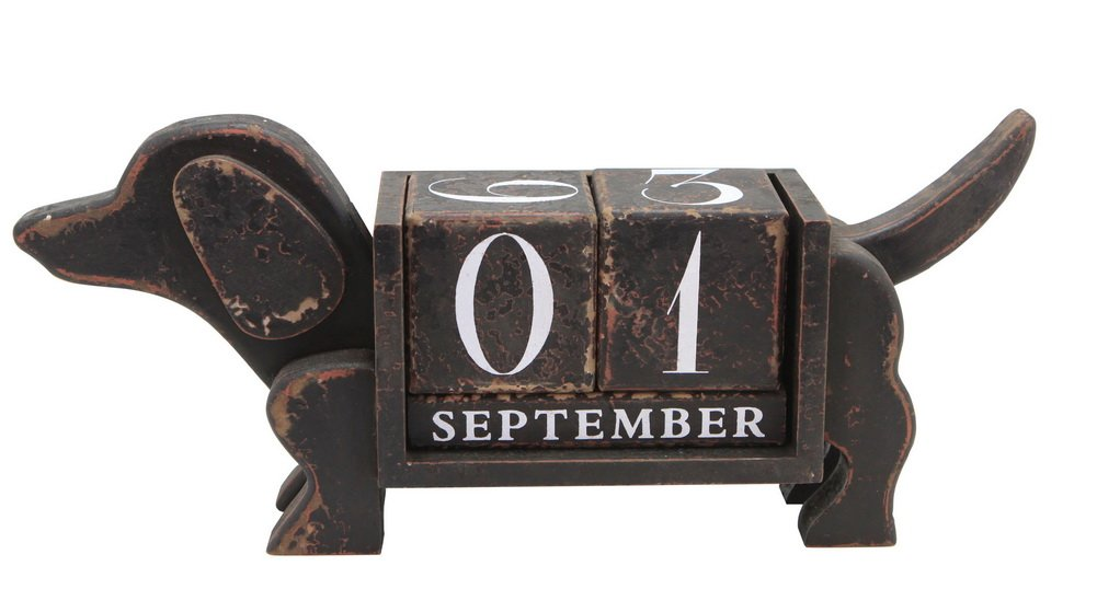 NIKKY HOME Shabby Chic Dog Shape Wood Blocks Perpetual Calendar for Desk 13.4 x 3.1 x 5.7 Inches,Black by NIKKY HOME