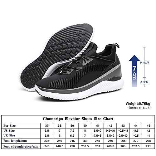CHAMARIPA Elevator Sneakers Casual Lightweight Sports Shoes With Hidden Lifting Heel For Man -2.76 inches Taller-H71C62V012D Black discount new styles For sale online cheap sale shop the cheapest cheap online clearance official 7DFmRc