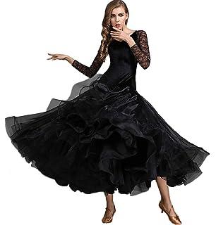 CX Abiti da Ballo Standard Nazionali per Donne Costume da Competizione Velluto Pizzo Cucitura Vestito da Sociale Tango Moderno Sala da Ballo Gonna in Tulle