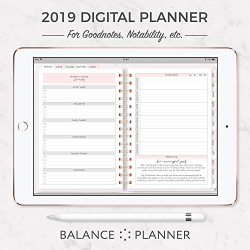 Digital Planner for iPAD | 2019 Dated Goodnotes Planner | Digital Balance Planner | Tablet Planner