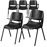 Flash Furniture 5 Pk. Black Ergonomic Shell Chair with Left Handed Flip-Up Tablet Arm