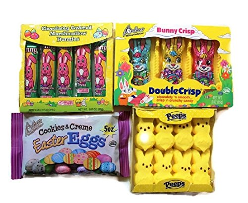 Easter Bunny Candy - Easter Candy Bundle - Peeps, Marshmallow Bunnies. Crisp n Crunchy Bunnies, Cookies & Creme Easter Eggs.