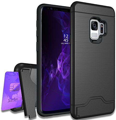 Samsung Galaxy S9 Plus Case with Raised Lip for Screen Protector, Full Body Heavy Duty Protective Cover, Protection from Drop, Bonus Card Holder/Wallet and Kickstand, Made with TPU+PC Hybrid, Black