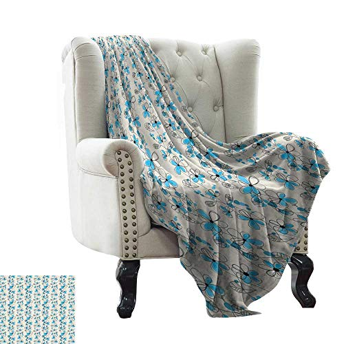 WinfreyDecor Decorative Throw Blanket Childish Drawing of a Field with Blue Daisy Petals and Skinny Stems Sofa Chair 70' Wx84 L