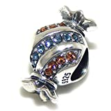 "Solid 925 Sterling Silver ""Candy Wrapper with Blue and Orange Crystals"" Charm Bead"