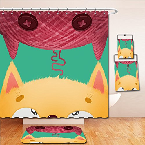 LiczHome Bath Suit: Showercurtain Bathrug Bathtowel Handtowel Creative Illustration and Innovative Art Cat and its Ragdoll version! Realistic Fantastic Cartoon Style Artwork Scene, Wallpaper, Story