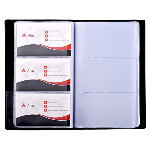 Card Book Holder - MaxGear Business Card Book Holder, Journal Business Card Organizer, Professional PU Leather Name Card Book Holder, Office Business Card Holder - Hold 240 Cards Black