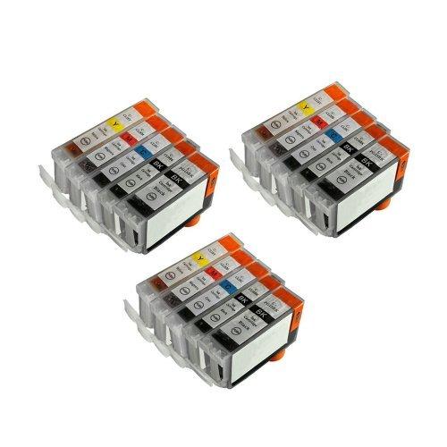 Inkcool 15 Pack compatible Ink PGI-5BK, CLI-8BK, CLI-8C, CLI-8M, CLI-8Y Inkjet Cartridge for Canon PIXMA MP-500, MP-530, MP-830 MP-950 MP-960 MP-970 MX-850, PIXMA iP4200, iP4500, iP5200 (3BK/3SB/3C/3Y/3M)