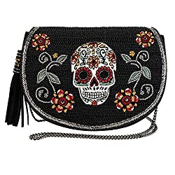 Beaded Skull Crossbody Saddle Bag