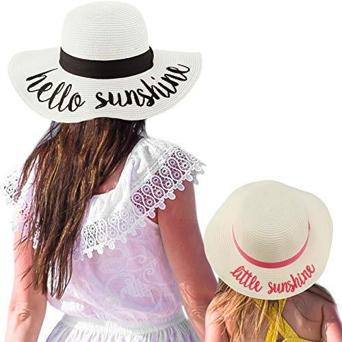 C.C Womens Mommy and Me Girls Sayings Summer Beach Pool Floppy Dress Sun Hat Little Sunshine, White