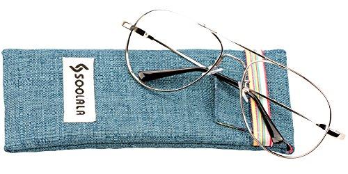 SOOLALA 4pc Memory-metal Classic Aviator Readers Reading Glasses Customized Strengths, +3.25D