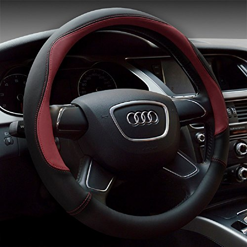 red and grey steering wheel cover - 2